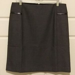 WHBM Luxe Leather Trim Pencil Skirt